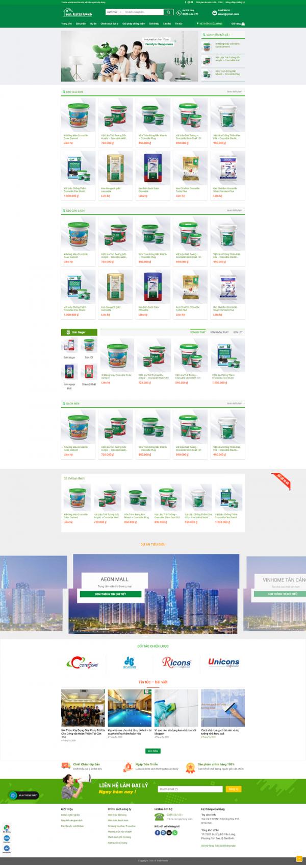 Website bán sơn vật liệu ngành xây dựng